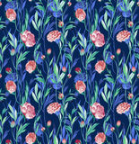Ranunculus flowers in watercolor. Seamless pattern with gentle ranunculus flowers. Delicate floral design in watercolor Stock Images