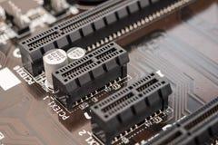 Ranura del conector del PCI en la placa madre Imagen de archivo libre de regalías