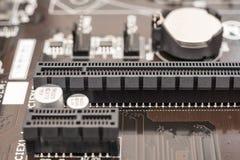 Ranura del conector del PCI en la placa madre Fotografía de archivo libre de regalías