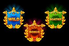 Ranura iconos, los símbolos de las colecciones del vector salvajes, prima y la dispersión Para el juego, interfaz de usuario, uso ilustración del vector