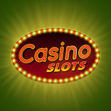 Ranuras del casino bandera ligera retra 3d con los bulbos brillantes Fotos de archivo