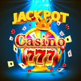 Ranuras del casino 777 del bote y bandera del rey de la fortuna Fotos de archivo libres de regalías
