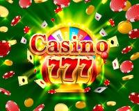 Ranuras del triunfo del casino 777 y bandera grandes de la fortuna Foto de archivo libre de regalías