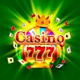 Ranuras del triunfo del casino 777 y bandera grandes del rey de la fortuna Imágenes de archivo libres de regalías