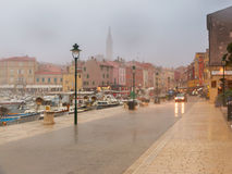 Rany day in old town Rovinj Royalty Free Stock Photography