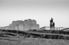 Rao Jodha statue and Mehrangarh Fort in Jodhpur(Black and White) Royalty Free Stock Image