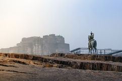 Rao Jodha statue and Mehrangarh Fort in Jodhpur, India Stock Image