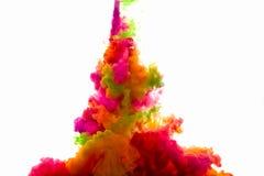 Raoinbow av akrylfärgpulver i vatten illustrationen för fractals för explosionen för abstrakt bakgrundsfärg texturerade den digit Royaltyfria Bilder