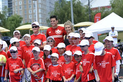 Raonic Milos & Bouchard Genie CAN at Rogers Cup (1) Stock Photos