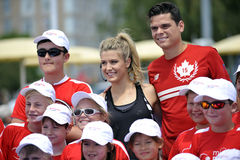 Raonic Milos & Bouchard Genie CAN at Rogers Cup (6) Stock Photo