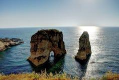 Raouche или утес голубя, Бейрут, Ливан стоковые фото