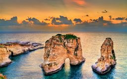 Raouche or Pigeons Rocks in Beirut, Lebanon stock images