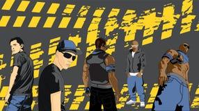 Rap artyści na czarnym tle ilustracji
