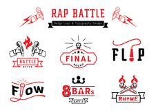 Rap battle badge logo and typography design. With microphone,wire,fire and ribbon element vector illustration Stock Images