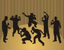 Rap boys. Rappers dancing - golden background -  illustration Stock Photography