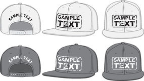 Rap cap, front, back and side view. Vector. Baseball cap front back side. Vector. Color redact easy Stock Photos