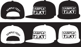Rap cap, front, back and side view. Vector Stock Photo