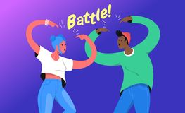 Rap or dance battle concept vector illustration of two young teenagers standing together and gesturing hands up stock photo