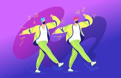 Rap or dance battle concept vector illustration of two young teenagers standing together and gesturing hands up stock photos