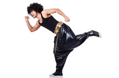 Rap dancer. Isolated on the white Royalty Free Stock Image