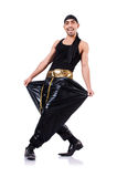Rap dancer isolated. On the white Royalty Free Stock Images