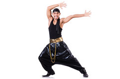 Rap dancer. Isolated on the white Royalty Free Stock Images