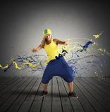 Rap dancer. Modern rap dancer with drop motion effect Royalty Free Stock Photo