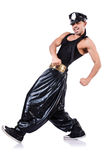 Rap dancer. In wide pants on white Stock Photography