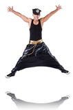 Rap dancer. In wide pants on white Royalty Free Stock Image