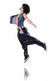 Rap dancer in wide pants. On white Royalty Free Stock Image
