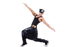 Rap dancer in wide pants. On white Stock Image