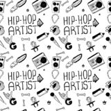 Hip hop artist. Hip hop doodle pattern with rap attributes royalty free stock image