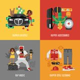 Rap Music Flat Set. Rap music design concept set with rapper lifestyle clothing and accessories isolated vector illustration Stock Photo