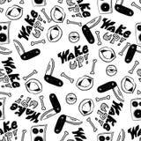 Rap Music. Hip hop doodle pattern with rap attributes stock photo