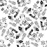 Rap Music. Hip hop doodle pattern with rap attributes stock photos