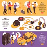 Rap Music Horizontal Banners vector illustration