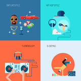 Rap music icons set flat Stock Image