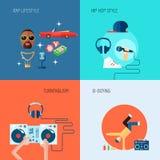 Rap music icons set flat Stock Image