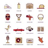 Rap Music Icons Set Stock Images