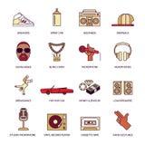 Rap Music Icons Set Stock Images