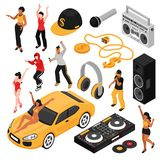 Rap Music Isometric Set vector illustration