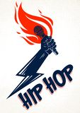 Rap music vector logo or emblem with microphone in hand flames and lightning bolt, hot Hip Hop rhymes festival concert or night stock illustration