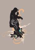 Rap singer. Illustration of a rap singer and decorative patterns Royalty Free Stock Image