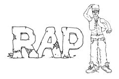 Rap singer illustration. Rap singer. Hand drawn  stock illustration. Black and white whiteboard drawing Royalty Free Stock Photography