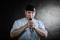Rap singer rapper man with microphone Royalty Free Stock Photos