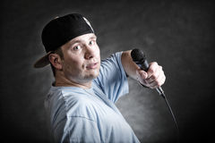 Rap singer rapper man with microphone Royalty Free Stock Photo