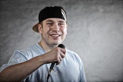 Rap singer rapper man with microphone Royalty Free Stock Image