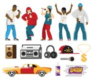 Rap Singers Accessories Flat Set. Rap music singers with accessories mc cap retro car loudspeakers microphone flat icons collection isolated vector illustration Royalty Free Stock Images