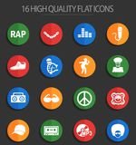Rap 16 flat icons. Rap web icons for user interface design Royalty Free Illustration