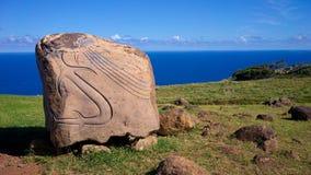 Rapa Nui刻在岩石上的文字,复活节岛,智利 图库摄影